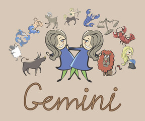 collection of cartoon zodiac signs headed twins