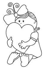 Girl hugs heart. Contour