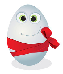 Funny egg with a red bow