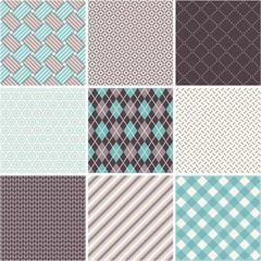 Seamless patterns set - tartan, argyle, sell