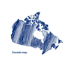 Canada map hand drawn background vector,illustration