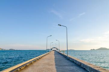 Concrete bridge to the sea in Thailand