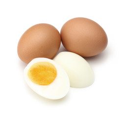 Boiled egg, cooked isolated on white background