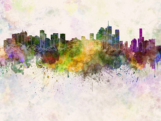 Wall Mural - Brisbane skyline in watercolor background