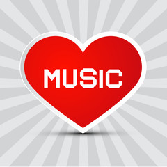 Love Music Theme with Red Paper Heart on Retro Background