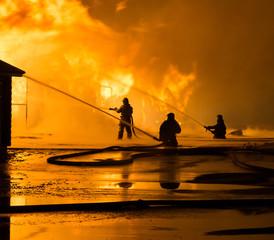 Fototapete - Firemen at work