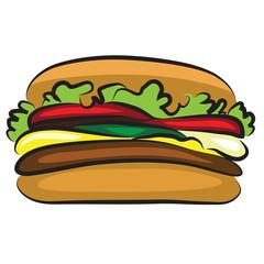 Tasty Cartoon Hamburger