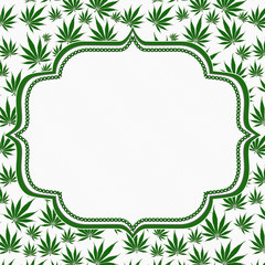 Marijuana Leaves Frame with Embroidery Background