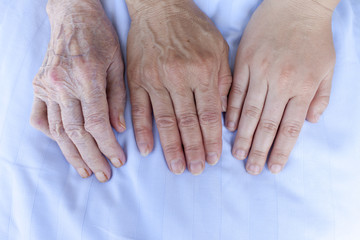 Hands of an 93, 52 and 25 years old women