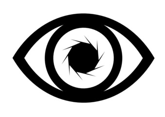 Eye icon vector with lens effect