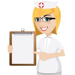 cartoon nurse with blank document