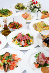 The buffet in the restaurant with different meals