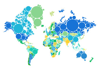 blue and green dot world map with countries, vector