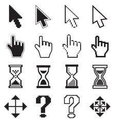 Pixel cursors icons arrow, hourglass, hand mouse.