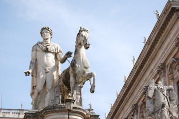 Statue of Pollux with his horse at Piazza del Campidoglio