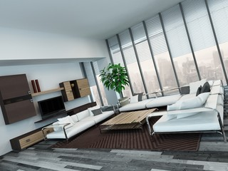 Modern living room interior with wooden cabinets