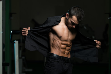 Young Man With His Shirt Open.