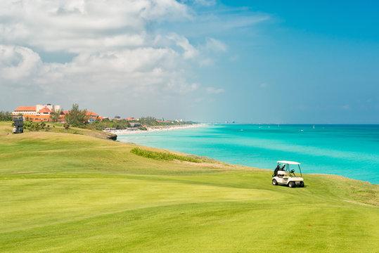 Golf course at Varadero beach in Cuba