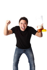 Exited fan with beer!