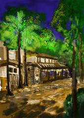 cg painting street night