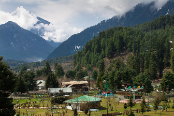 Beautiful nature around a village with Himalaya Mountain backgro