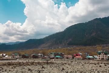 Beautiful nature around a village with Himalaya Mountain backgro
