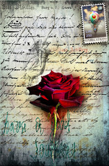 Canvas Prints Imagination Old letter with red rose, and postage stamp