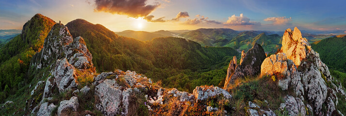 Tuinposter Bergen Panorama mountain landscape at sunset, Slovakia, Vrsatec