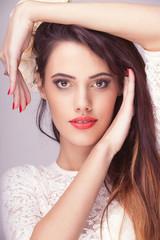 Beautiful woman professional make up toned image