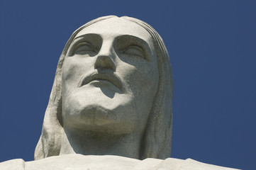 Christ the Redeemer at Corcovado Face Close-Up