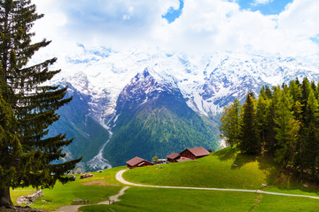Wall Mural - Picturesque landscape with mountains, Mont Blanc