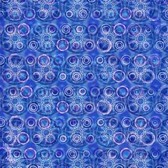 Fond Abstrait Bleu Cercles Bulles Mandalas