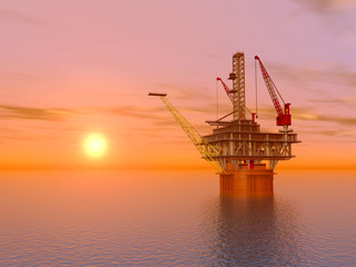 Oil Platform at Sunset