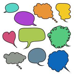 Hand-drawn, colorful speech bubbles