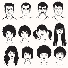 eye lips and hair, men and woman face parts, head character