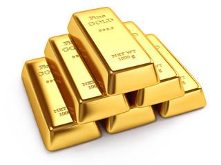 Gold ingots isolated on white background