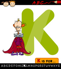 letter k for king cartoon illustration