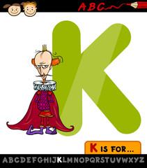 letter k for king cartoon illustration