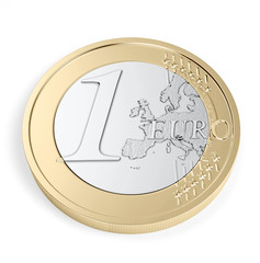 High quality render of a 1 Euro coin