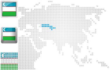 Uzbekistan on map of Asia