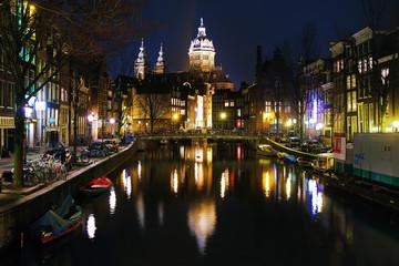 Printed kitchen splashbacks Amsterdam Evening view on the St. Nicolas Church in Amsterdam