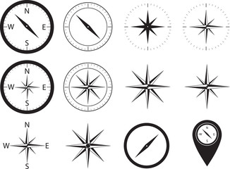 Compass collection illustrated on white