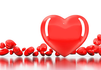 Red Heart and group small heart on white background