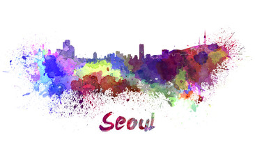 Seoul skyline in watercolor