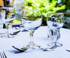 Empty glasses on the table outdoors