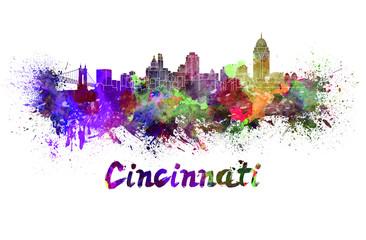Cincinnati skyline in watercolor