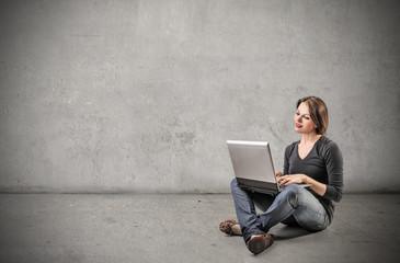 typing woman