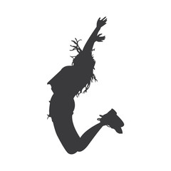Girl jumps happily silhouette vector