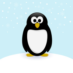 Vector penguin in cartoon style on snow background