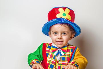 Child in clown suit